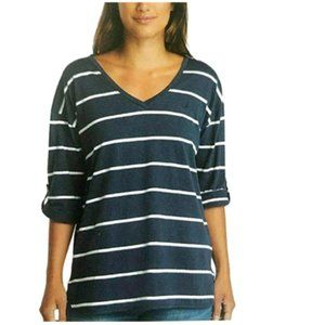 Nautica Ladies V-Neck Top with Roll Tab Tee